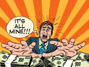 cartoon of greedy banking grabbing lots of bank notes