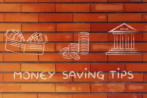 money saving tips: illustration with wallet, coins and bank