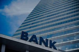 Modern high rise bank building