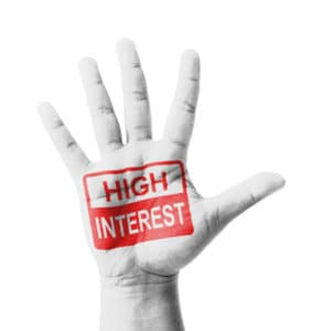Open hand raised, High Interest sign painted, multi purpose concept - isolated on white background
