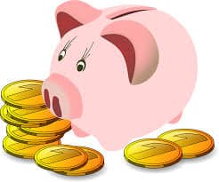 Drawing of a pink piggy bank with some gold coins lying around it