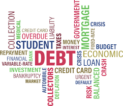 word cloud with debt as the central word