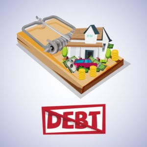 house and car with money on trap. debt trap concept