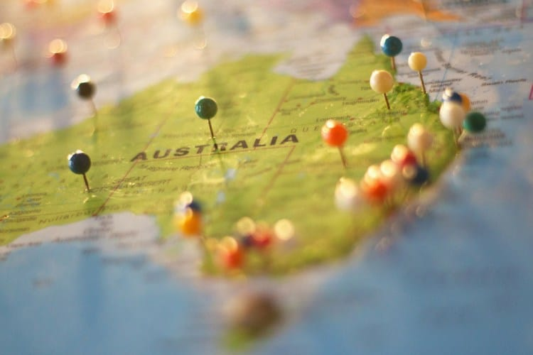 http://staging.mastermortgagebrokersydney.com.au - map of australia with coloured pins stuck into numerous locations on it